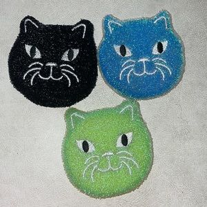 Kitty (3) scrub sponges by Kikkerland NWT